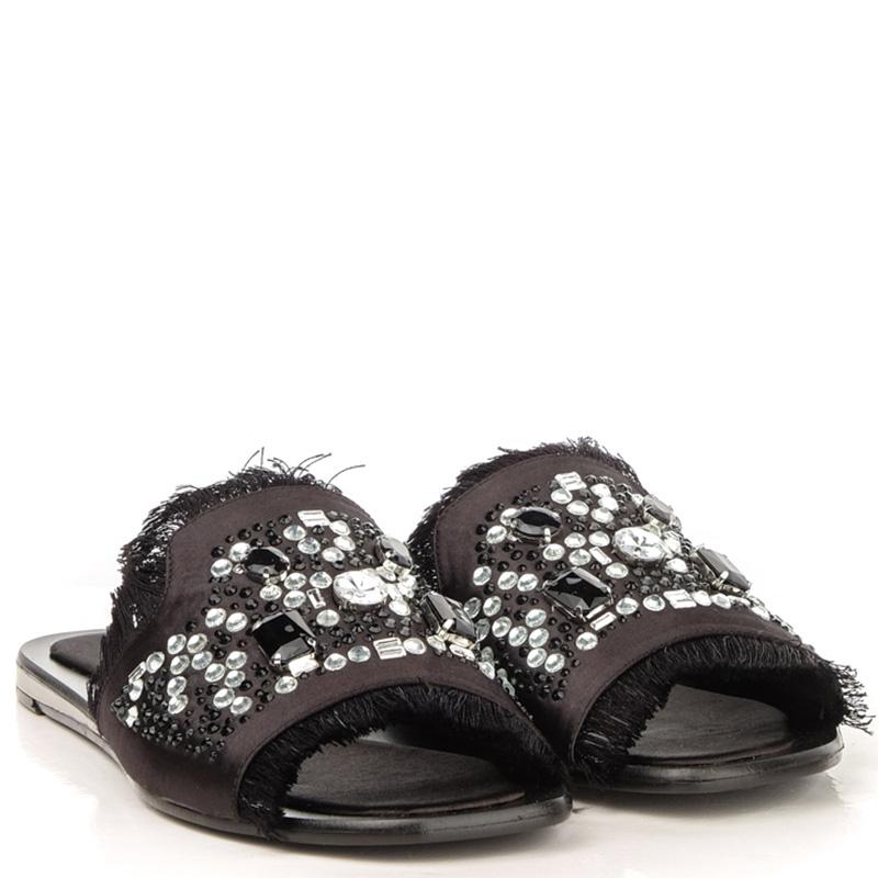 Черные шлепанцы Tosca Blu Bibi с декором-стразами