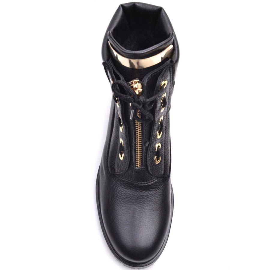 Ботинки Prego зимние кожаные с оригинальной шнуровкой и с золотистой молнией