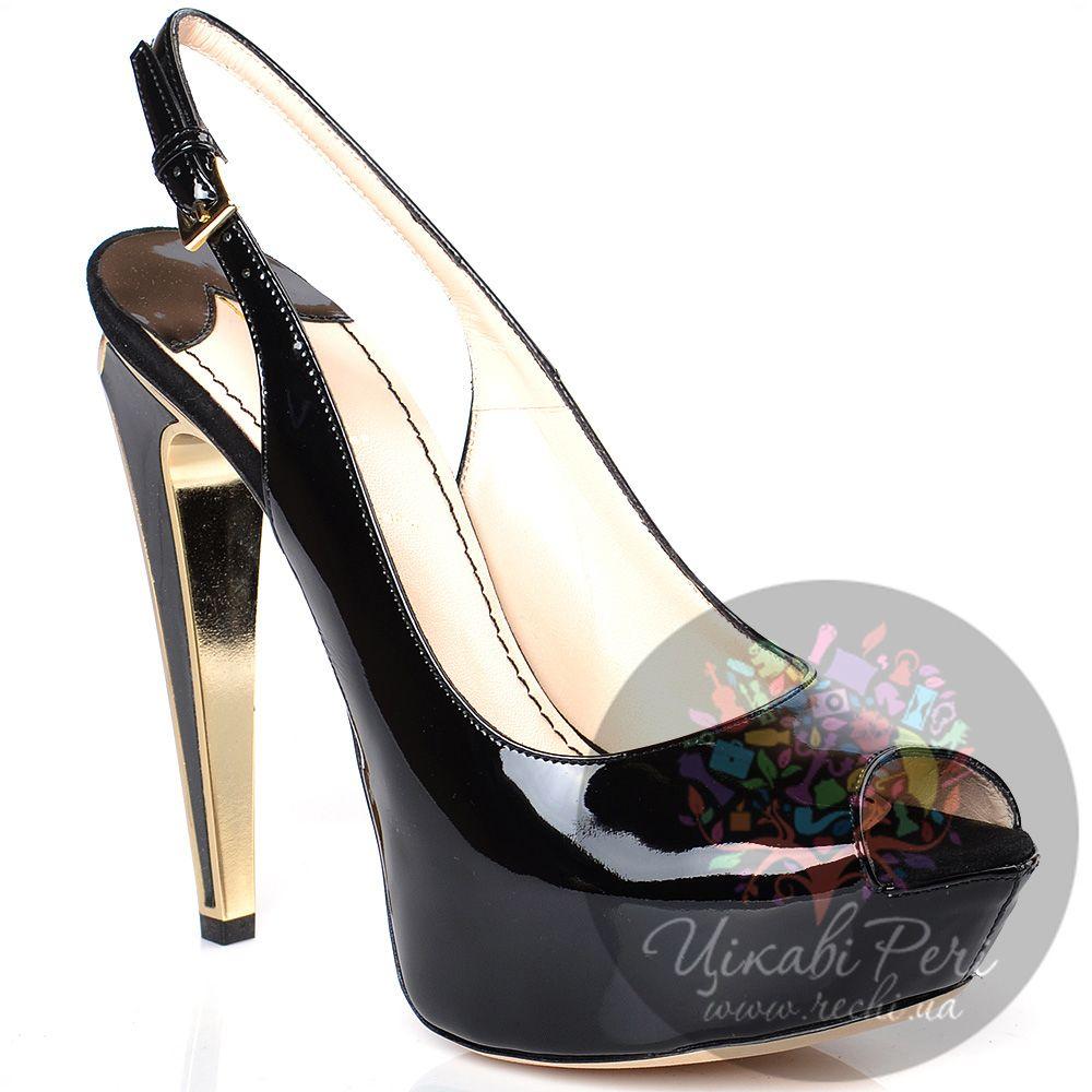 Босоножки Twice черные лаковые на роскошном каблуке