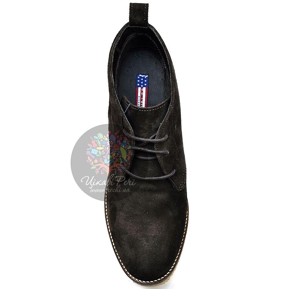 Ботинки U.S. Polo на танкетке замшевые темно-серые со шнуровкой