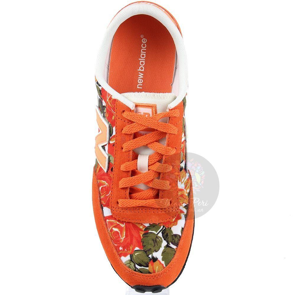 Кроссовки New Balance женские оранжевого цвета с цветочным принтом