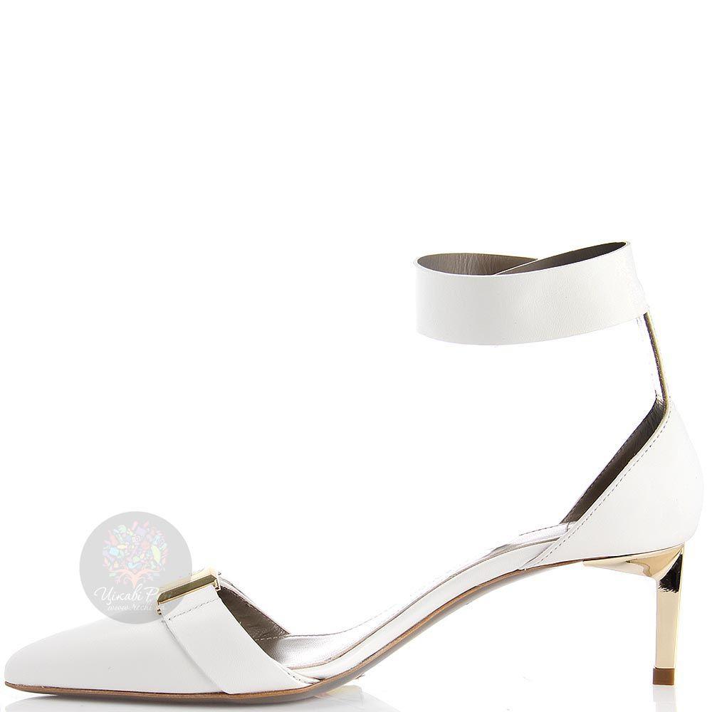 Туфли Versace Collection белого цвета кожаные и золотистым декором
