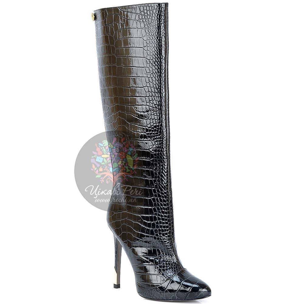 Сапоги Versace Collection на шпильке осенние роскошные с текстурой кроко