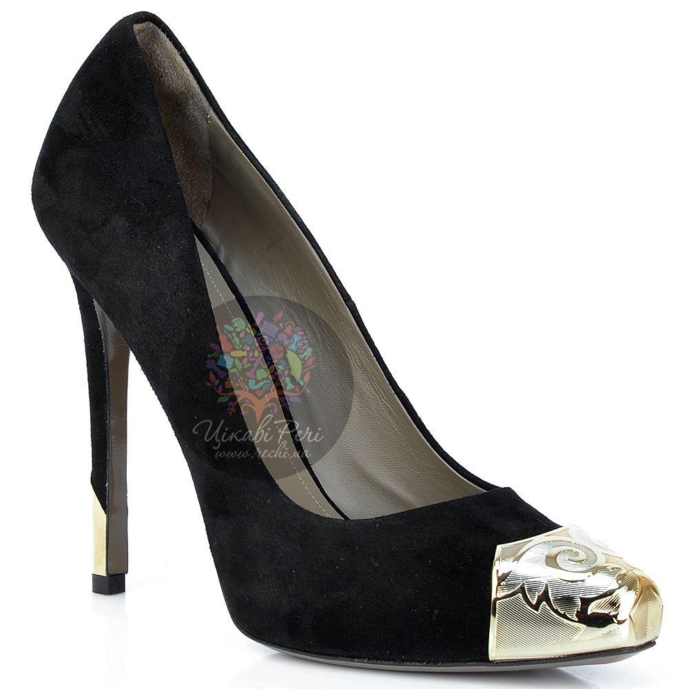 Туфли Versace Collection замшевые с декорированным носком и шпилькой