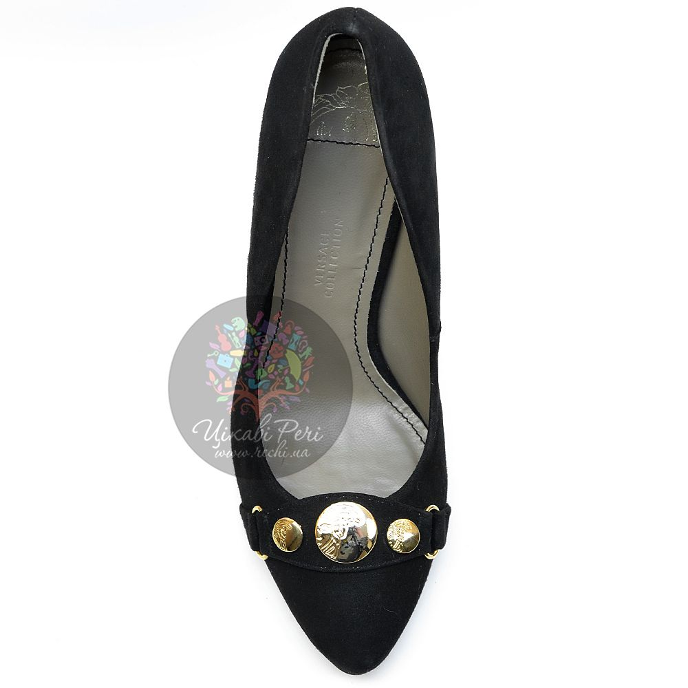 Лодочки Versace Collection роскошные замшевые черные