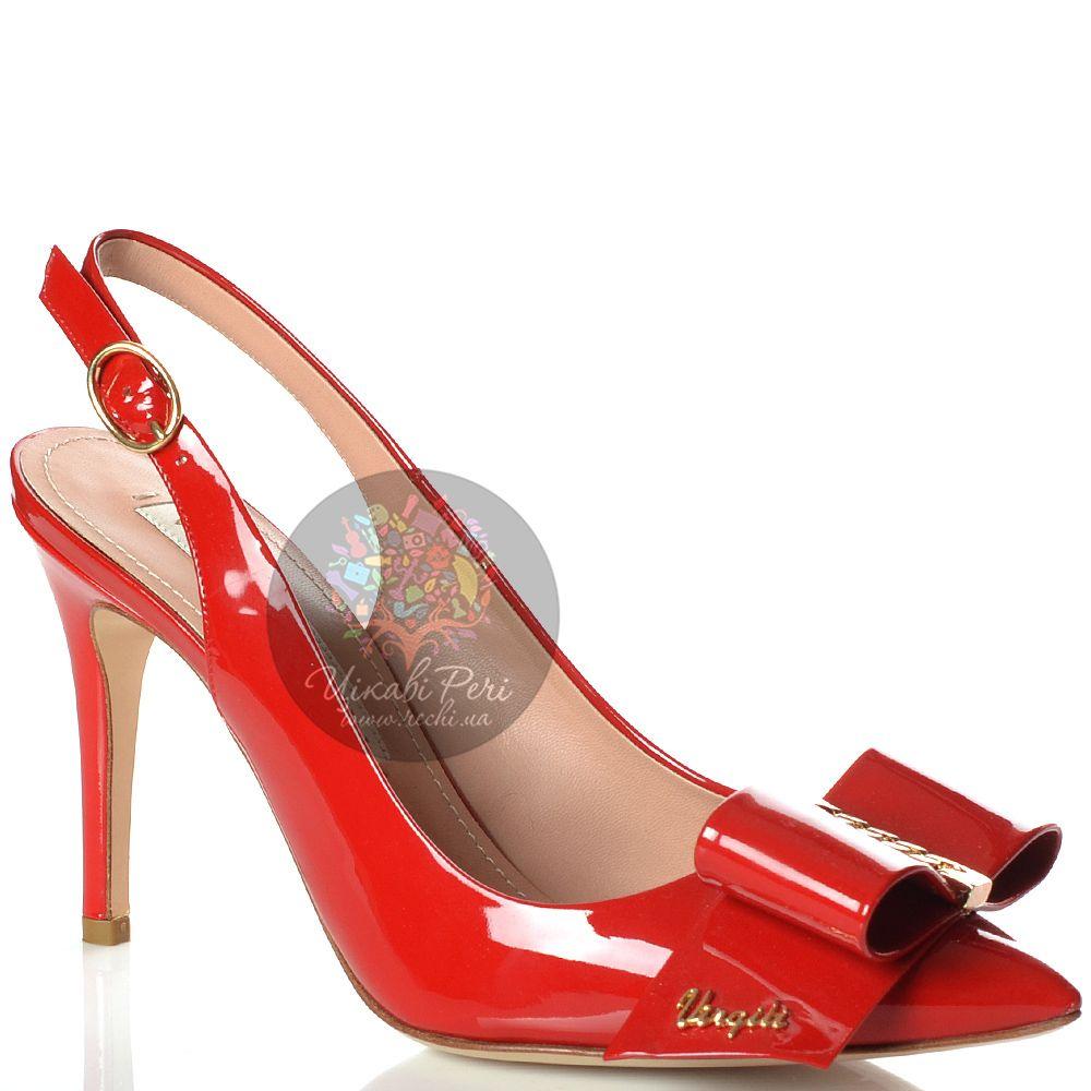 Туфли Vittorio Virgili кожаные лаковые красные с бантом