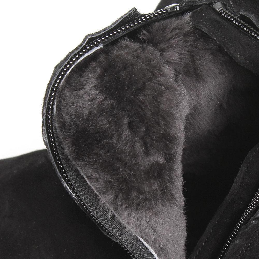 Замшевые сапоги черного цвета Iceberg с брендовой надписью