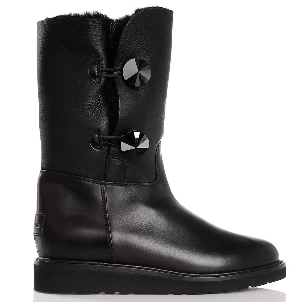 Высокие зимние ботинки на плоском ходу Nando Muzi черного цвета