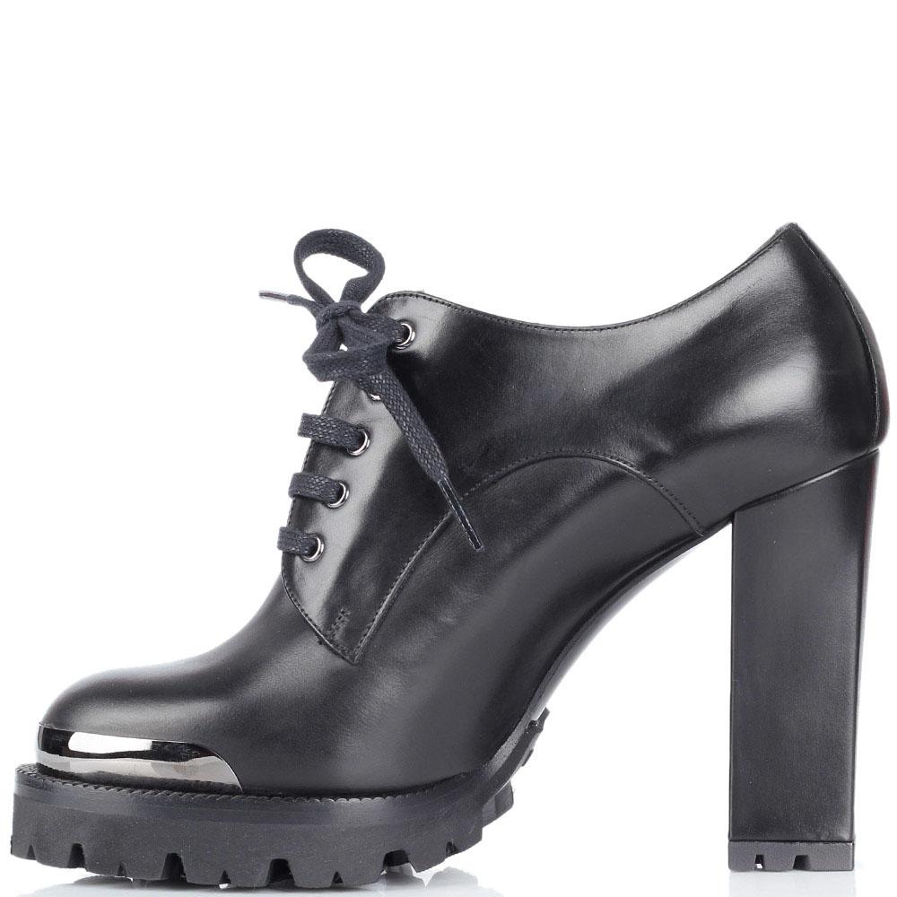 Кожаные ботинки черного цвета Nando Muzi на рельефной подошве и высоком устойчивом каблуке