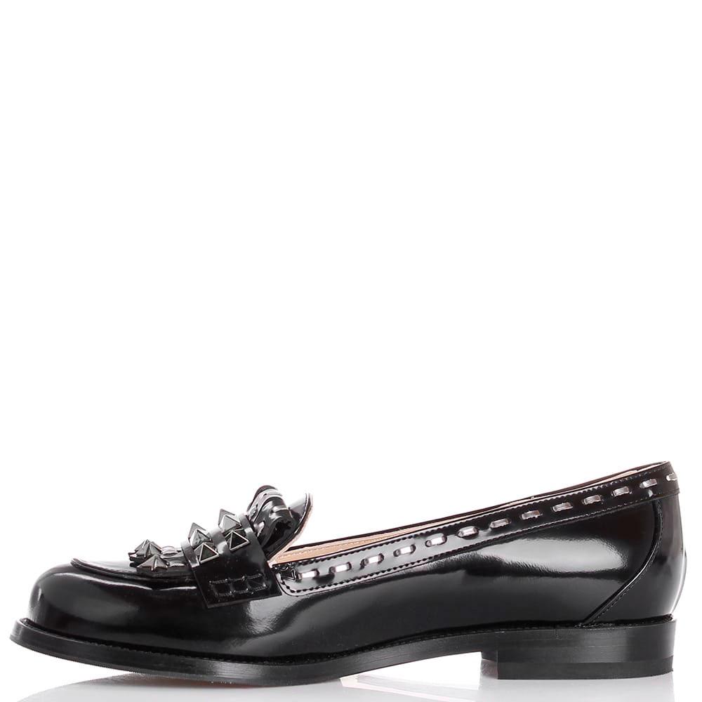 Туфли из полированной кожи черного цвета Nando Muzi декорированные шипами