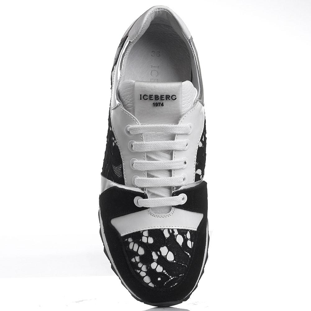 Кроссовки белые с черным Iceberg декорированные кружевом