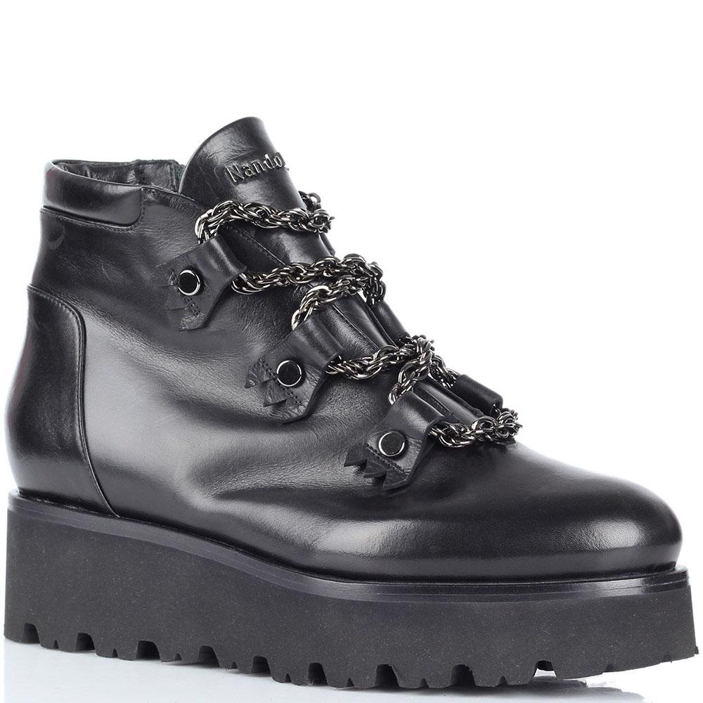 Зимние кожаные ботинки Nando Muzi на платформе и шнуровке из цепей