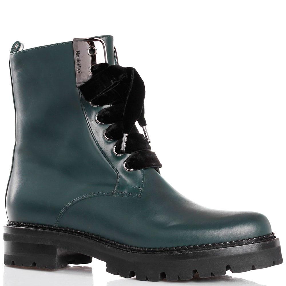 Высокие ботинки из гладкой кожи зеленого цвета Nando Muzi на рельефной подошве