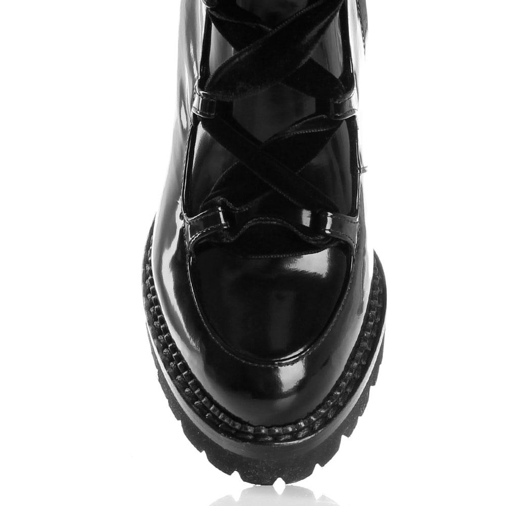 Ботильоны на толстом каблуке Nando Muzi из полированной кожи черного цвета