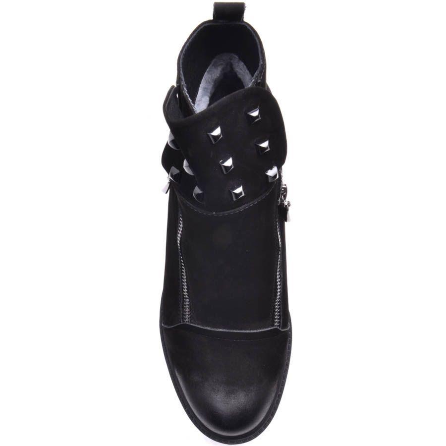 Ботинки Prego зимние на танкетке из черного нубука с молниями и заклепками