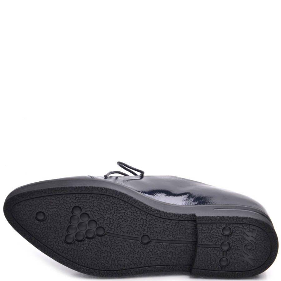 Ботинки Prego женские на шнуровке лаковые глубокого синего цвета