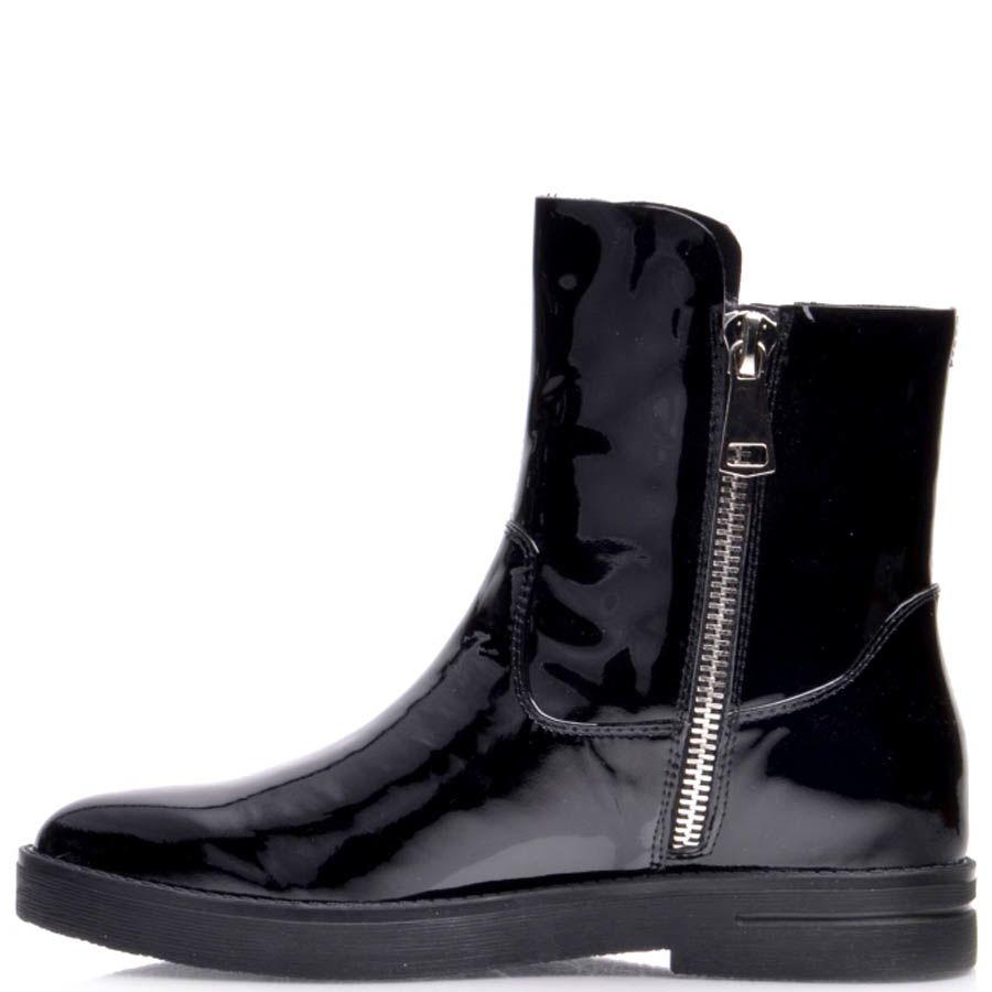 Ботинки Prego черные лаковые с молнией