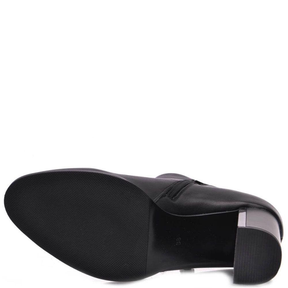 Ботинки Prego из натуральной кожи на высоком каблуке с металлической вставкой