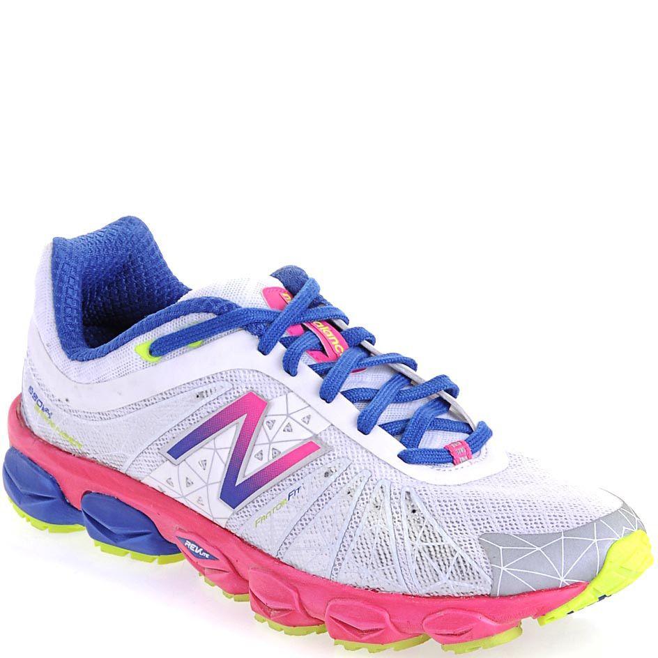Суперлегкие женские кроссовки New Balance 890 серебристо-белые с розовым и синим
