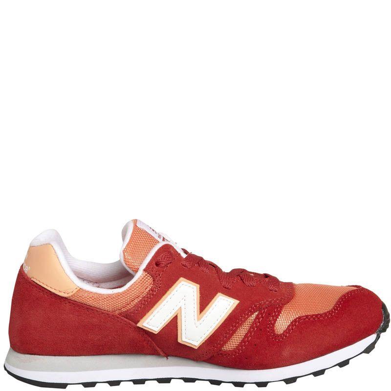 Кроссовки New Balance женские замшевые красного цвета с оранжевым