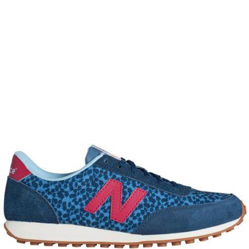 Кроссовки New Balance женские замшевые синего цвета с принтом