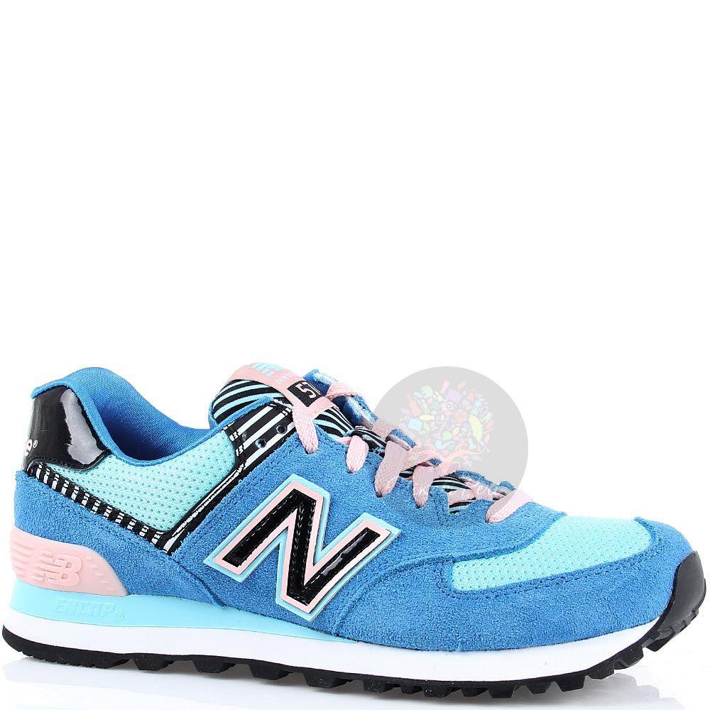 Кроссовки New Balance женские 574 синие с розовым