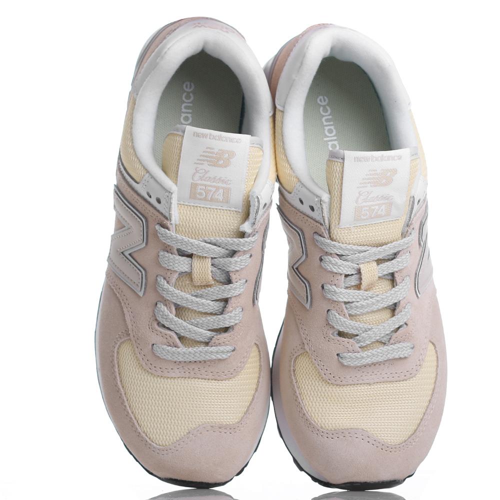 Желтые кроссовки New Balance 574 из комбинации замши и текстиля