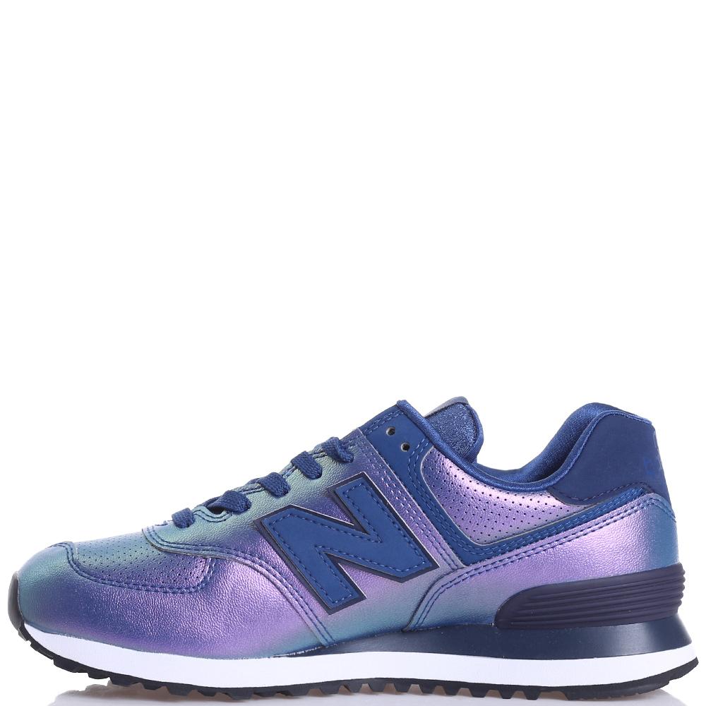 Синие кроссовки New Balance 574 с перламутровым блеском