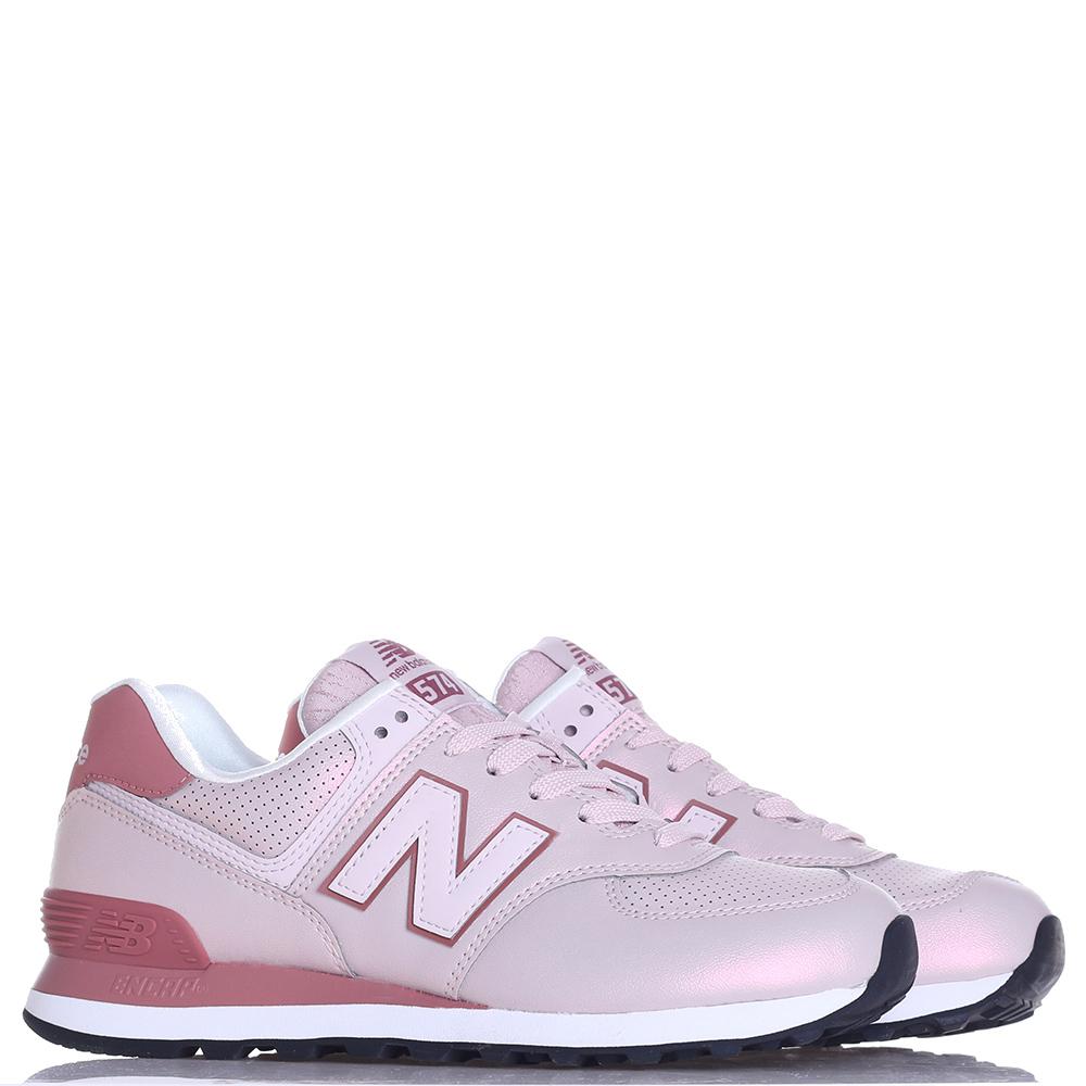 Кроссовки New Balance 574 розовые с бордовым