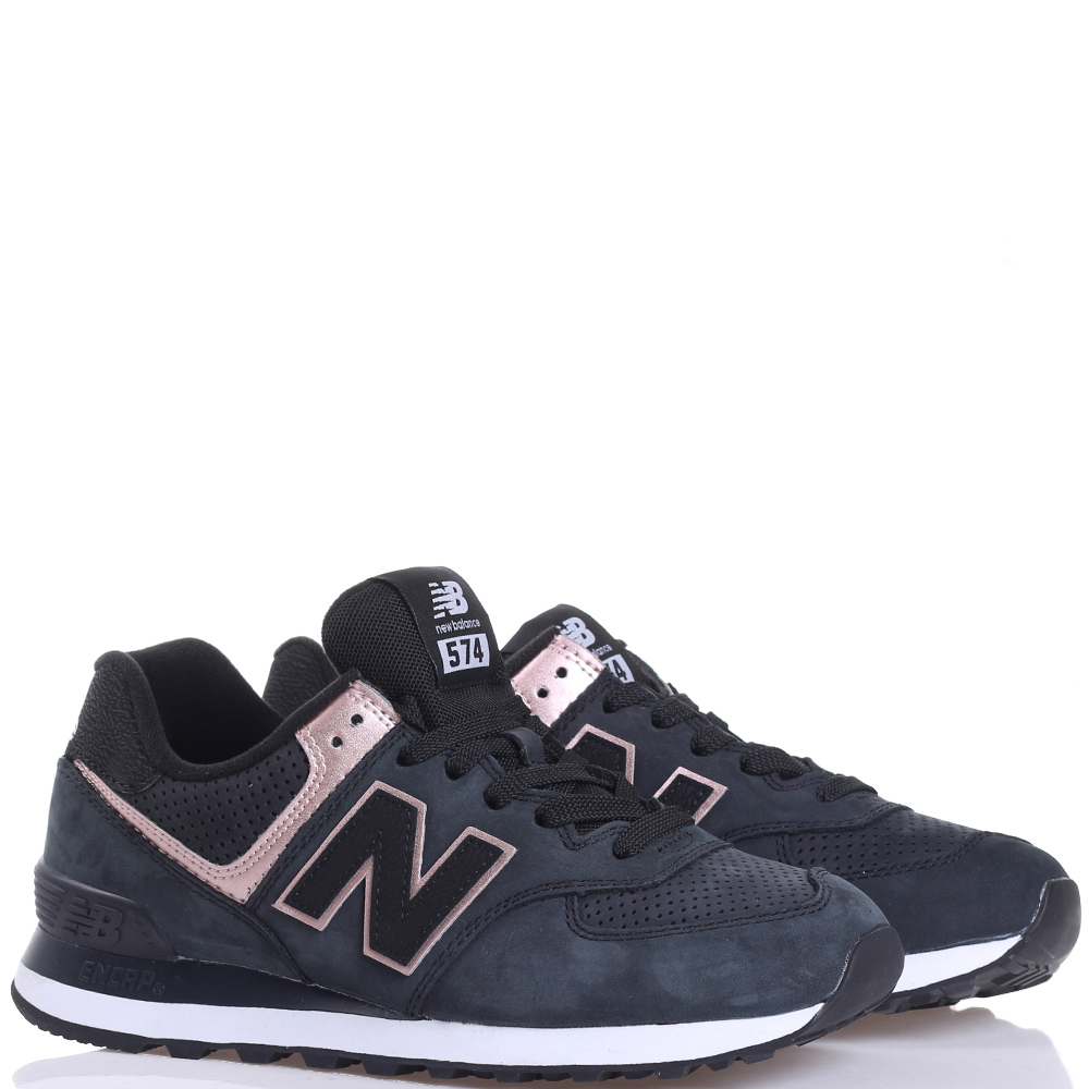 Черные кроссовки New Balance 574 с розовыми вставками
