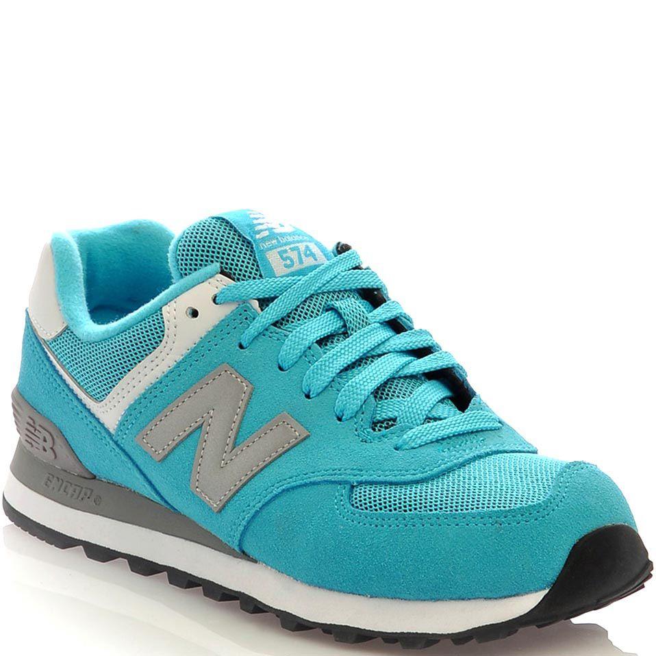 Женские кроссовки New Balance 574 бирюзово-голубые