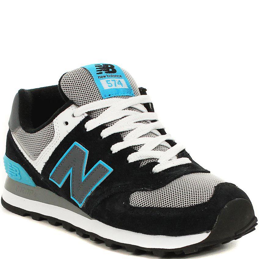 Женские кроссовки New Balance 574 черно-белые с голубыми яркими деталями