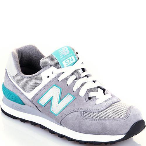 Женские кроссовки New Balance 574 светло-серые с бирюзовой отделкой