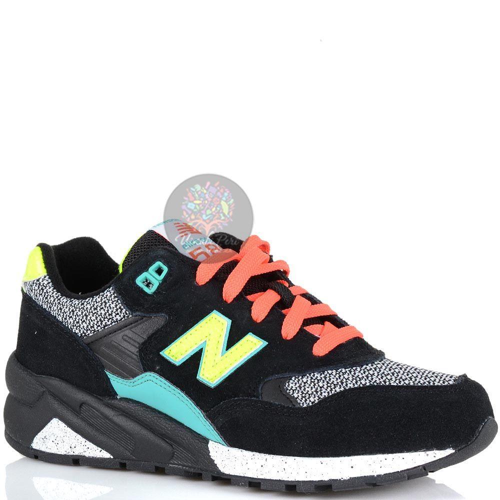Кроссовки New Balance 580 женские черные с цветными яркими деталями
