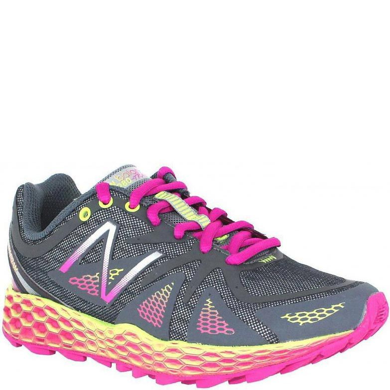 Кроссовки New Balance Trail 980 Fresh Foam женские серые с ярким сиренево-розовым