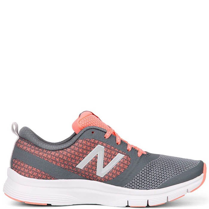 Кроссовки New Balance женские для спортзала серого цвета с коралловым