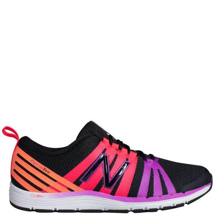 Кроссовки New Balance женские для спортзала черного цвета с разноцветными полосами