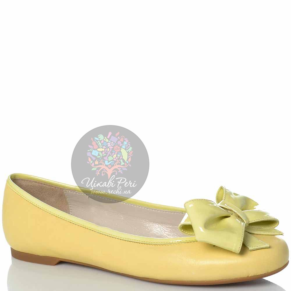 Балетки Emporio Armani мягкие кожаные пастельно-желтые с лаковым бантом