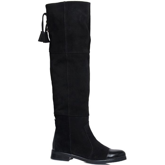 Сапоги Prego из натуральной замши черного цвета с кожаными носочком и пяточкой