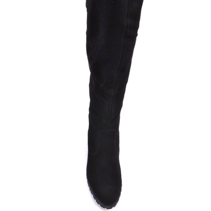 Сапоги Prego зимние замшевые с мехом черные и с кожаными ремешками коричневого цвета