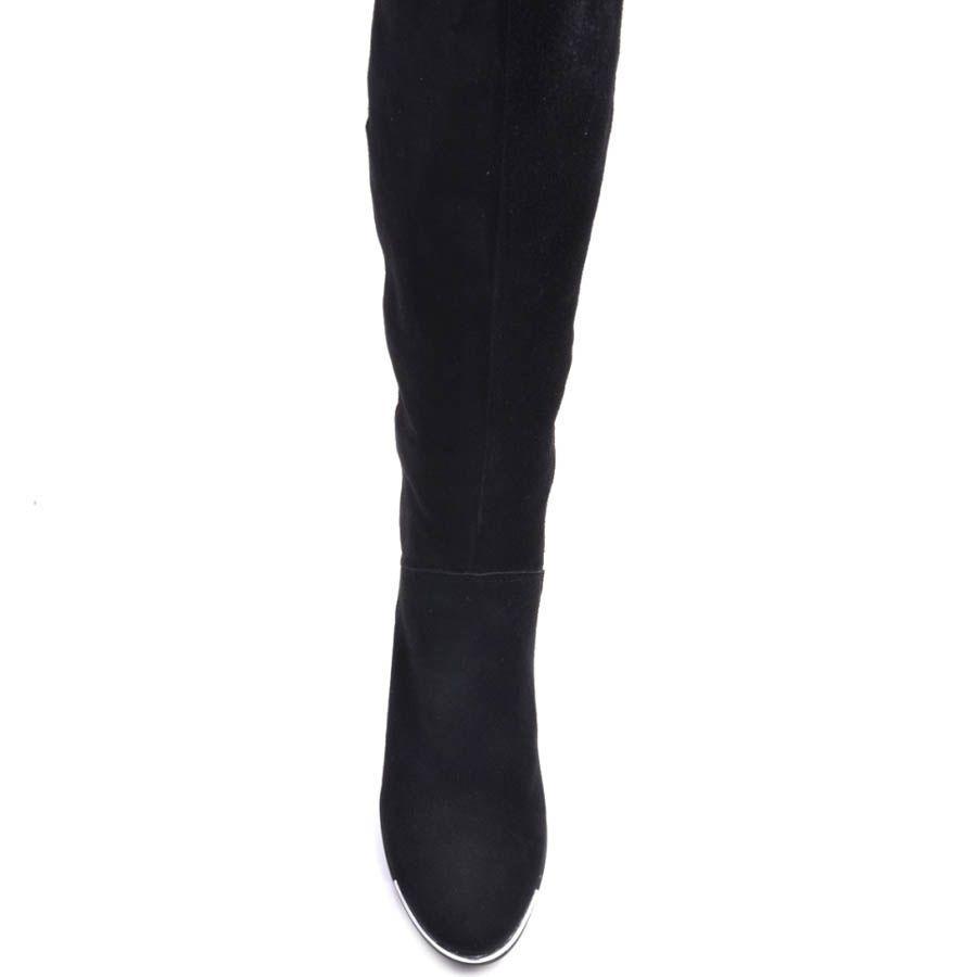 Сапоги Prego зимние черные из натуральной замши на устойчивом каблуке и с тонкой металлической вставкой на подошве носка