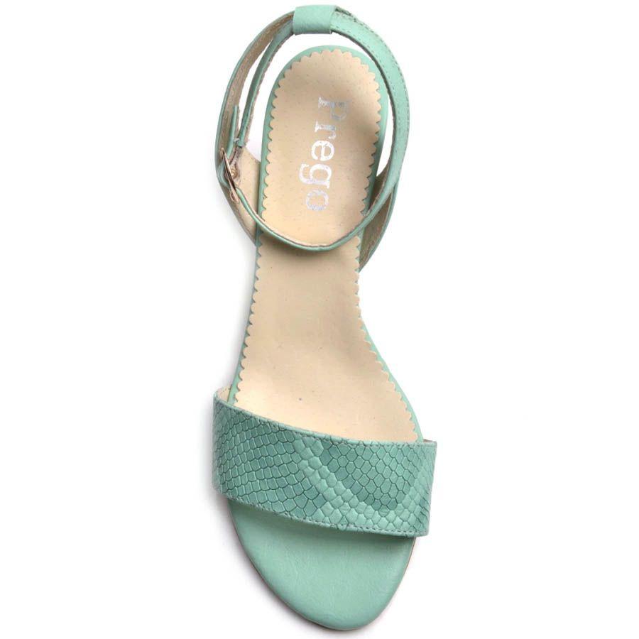 Босоножки Prego мятного цвета на устойчивом каблуке