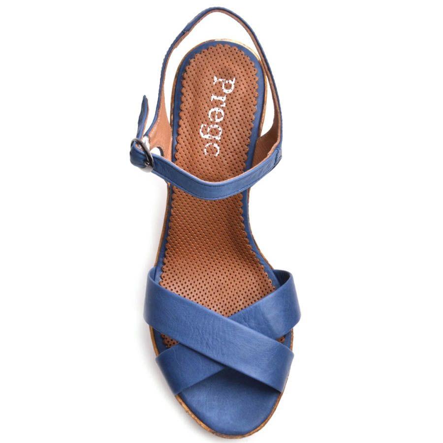 Босоножки Prego синего цвета с переплетеными перемычками