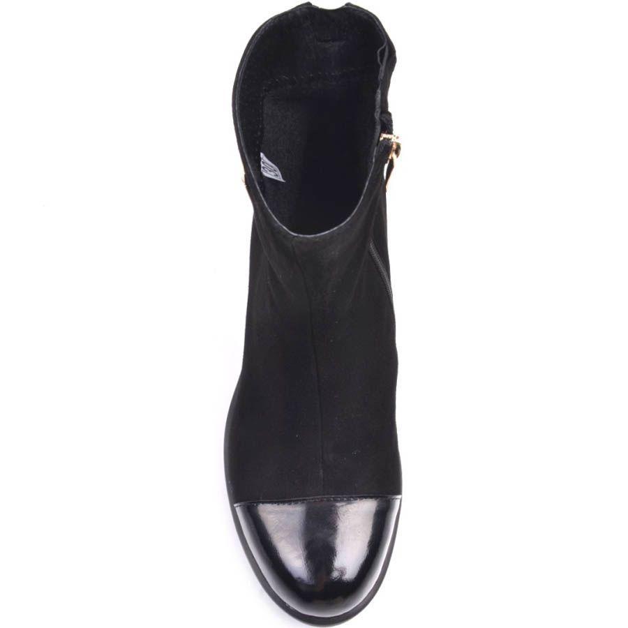 Ботильоны Prego замшевые черного цвета с лаковым носочком и золотистой молнией на пятке