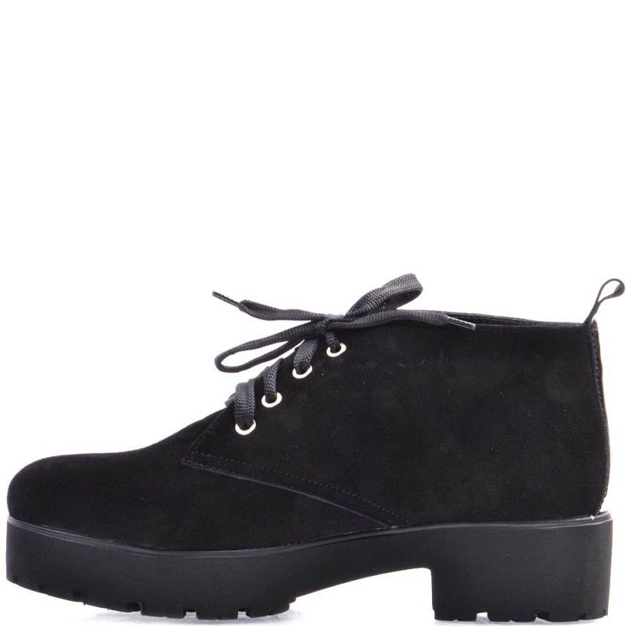 Ботинки Prego замшевые черного цвета на шнуровке с толстым каблуком