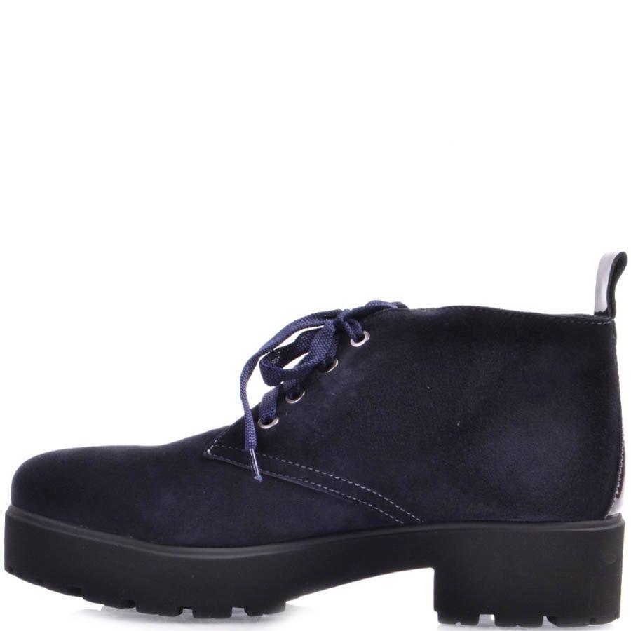 Ботинки Prego замшевые синего цвета на шнуровке с толстым каблуком