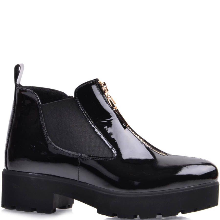 Ботинки Prego лаковые черного цвета с золотистой молнией на толстом каблуке