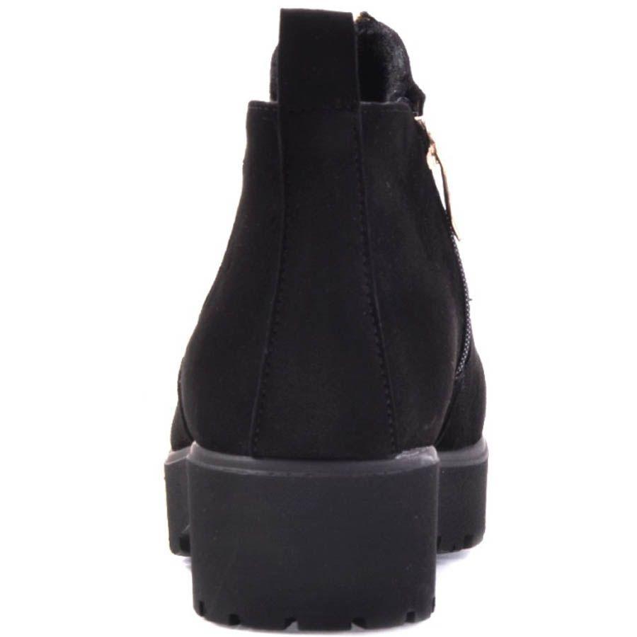 Ботинки Prego замшевые черного цвета с толстым каблуком и золотистой молнией