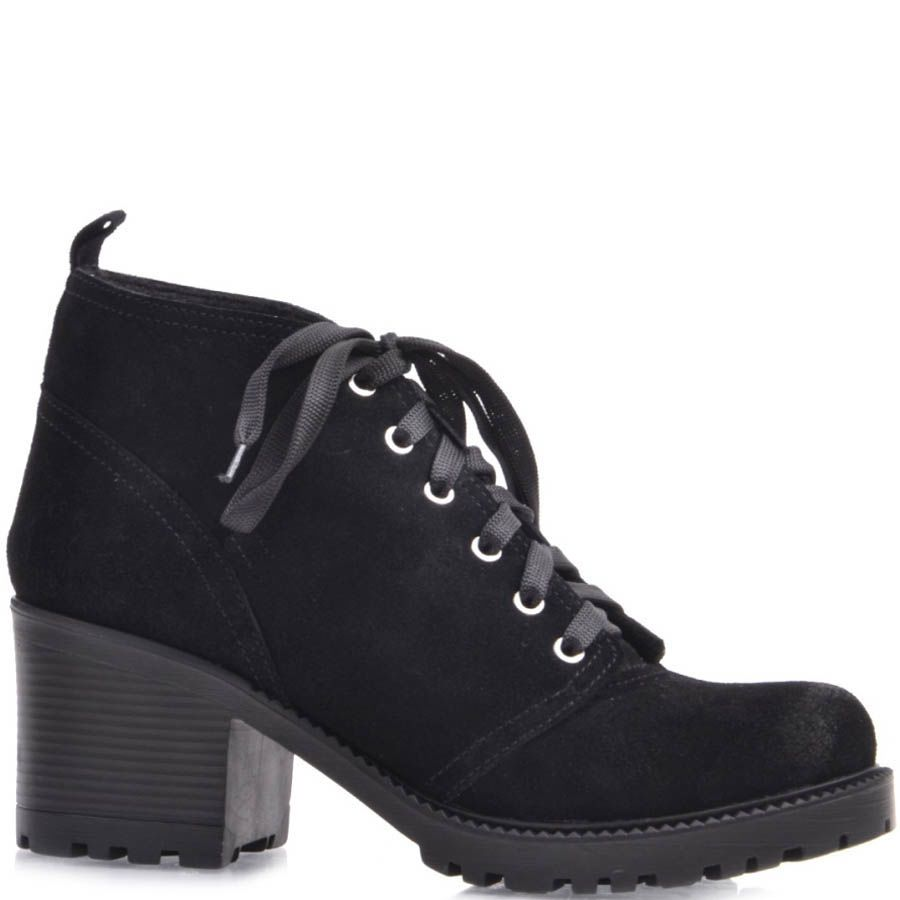 Ботинки Prego черного цвета из замши со шнуровкой и на толстом каблуке
