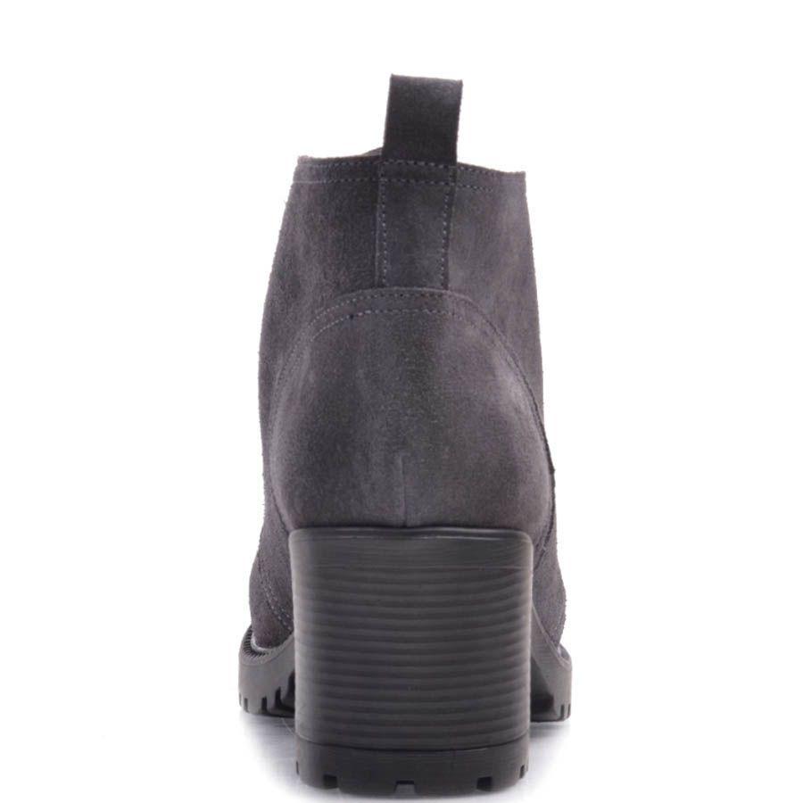 Ботинки Prego серого цвета из замши со шнуровкой и на толстом каблуке